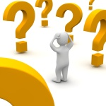 Confused man and question marks